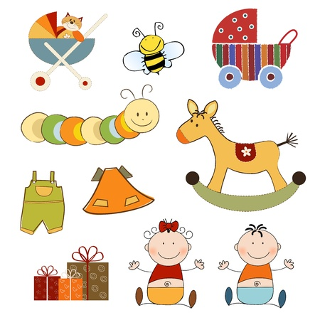 items: new baby items set isolated on white background, vector illustration