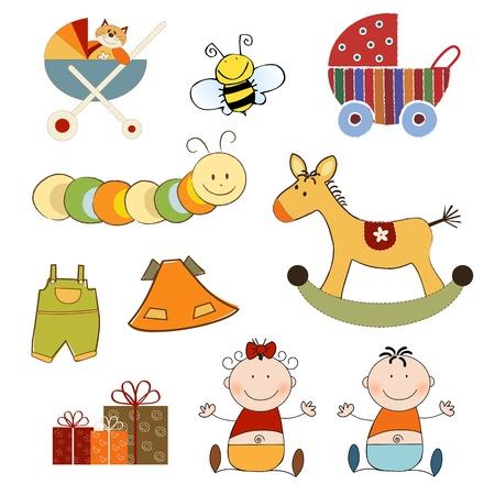 nieuwe baby-artikelen set geïsoleerd op een witte achtergrond, vector illustratie Stock Illustratie