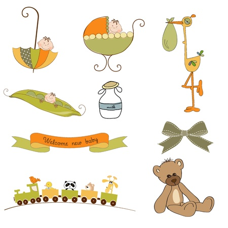 new baby items set isolated on white background, vector illustration Vector