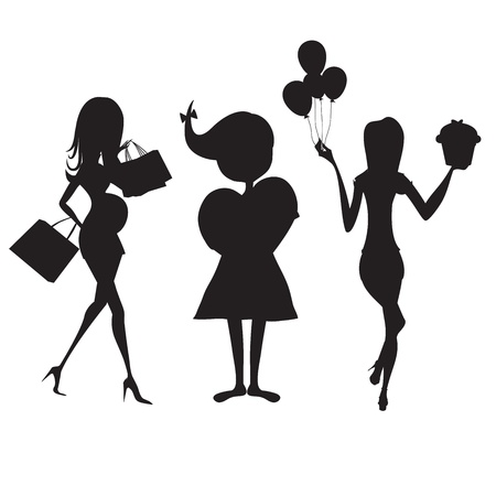 set of three girls silhouettes at birthday party isolated on white background, vector illustration Vector
