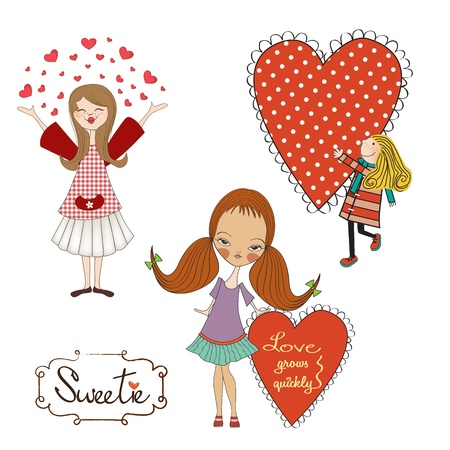 Set of three girls in love isolated on white background, vector illustration Vector