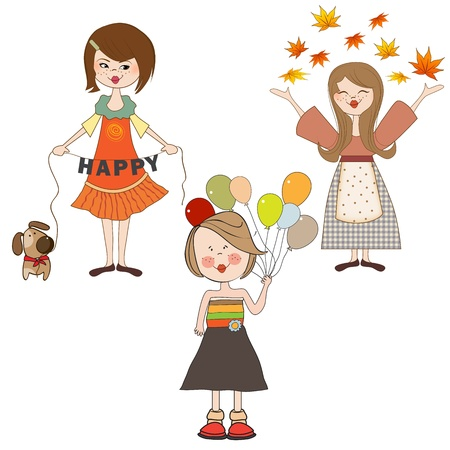 set of three happy girls, isolated on white background, vector illustration Vector