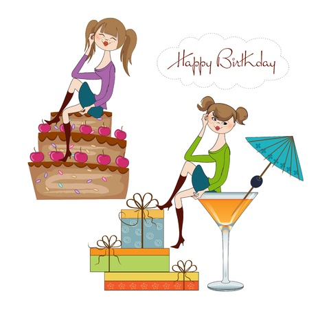 two party girl set isolated on white background, vector illustration Vector
