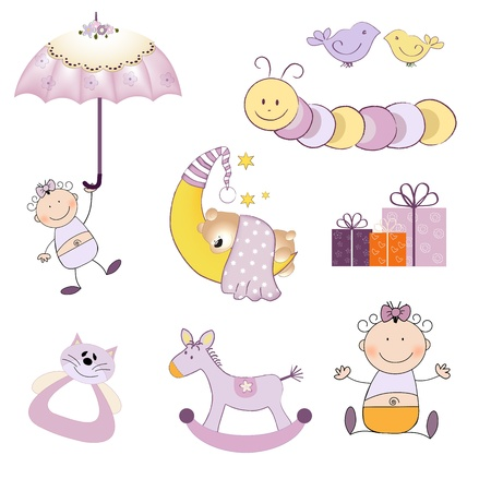 baby illustration: baby girl items set isolated on white background, vector illustration Illustration