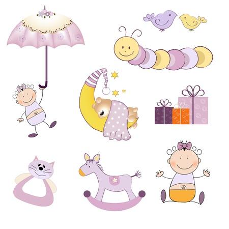 babymeisje items in te stellen op een witte achtergrond, vector illustratie Stock Illustratie