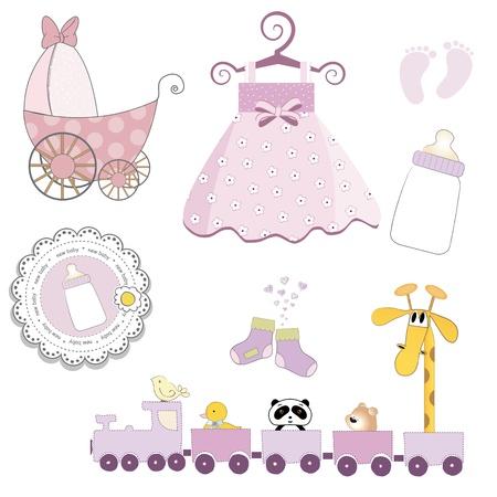 tren caricatura: chica artículos de bebé conjunto aislado sobre fondo blanco, ilustración vectorial Vectores