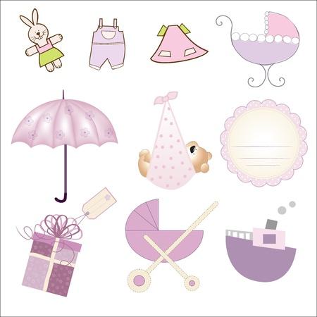 new baby gil items set isolated on white background, vector illustration Ilustração