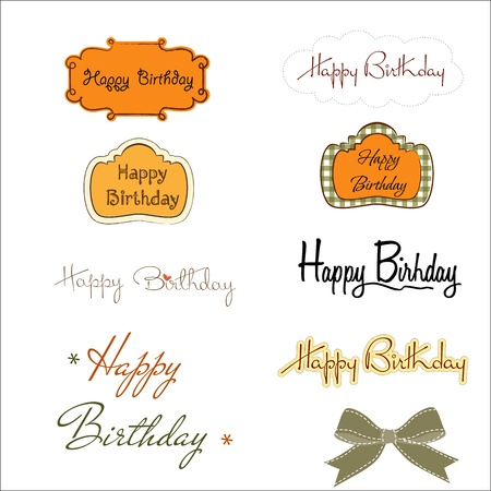 happy birthday texts set isolated on white background, vector illustration Stock Vector - 20169290