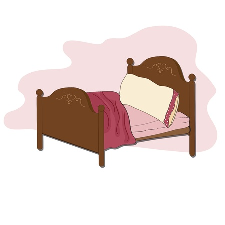 cartoon bed: kid bed, illustration in vector format Illustration