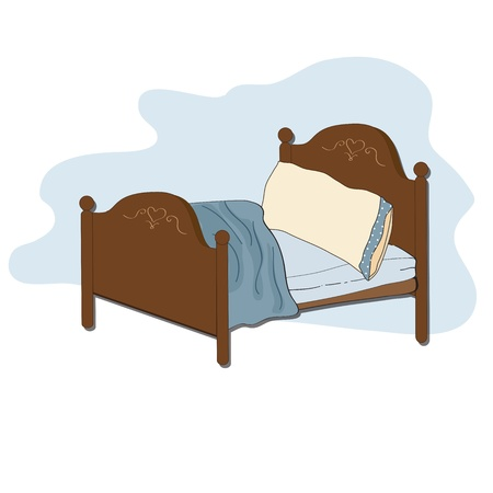 kid bed, illustration in vector format Çizim