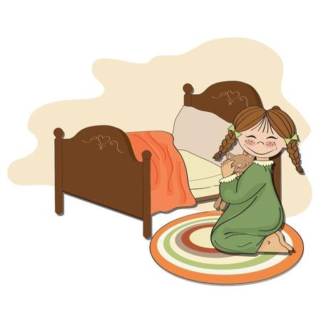 little girl is preparing for sleep, illustration in vector format