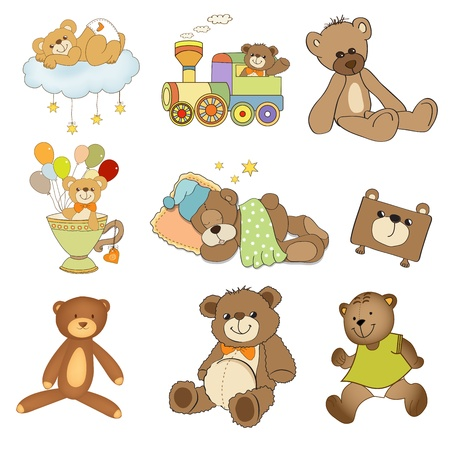funny teddy bears set isolated on white background, vector illustration Ilustração