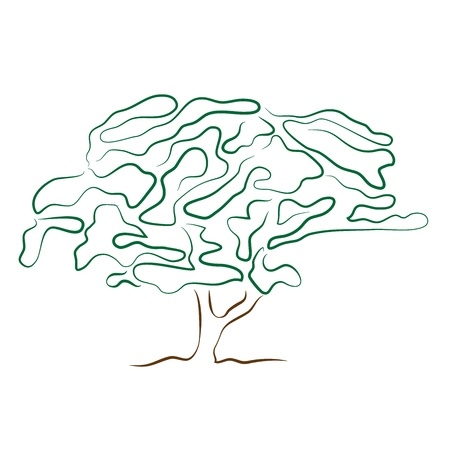 stylized tree silhouette isolated on white background Illustration