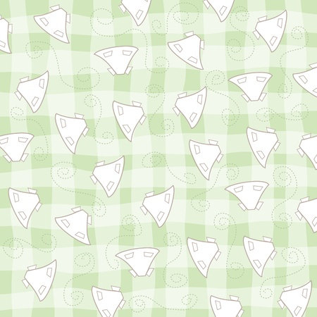childish seamless pattern with baby dresses, vector illustration Vector
