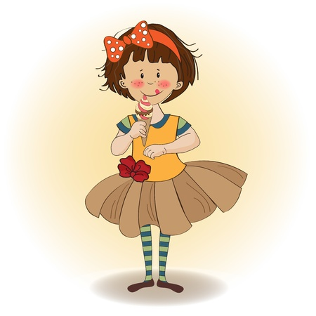 funny girl with icecream, illustration in vector format