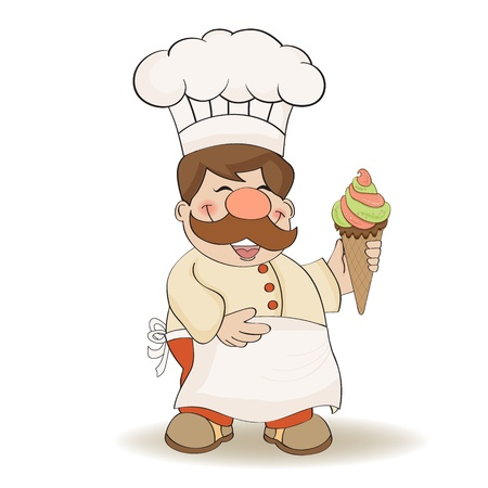 funny chef with icecream, illustration in vector format Vector