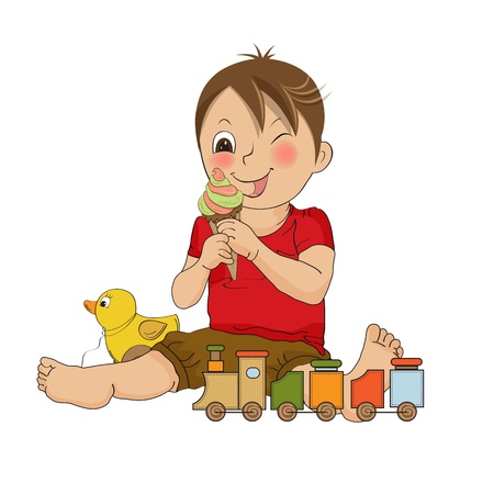 child ice cream: funny boy with icecream, illustration in vector frormat