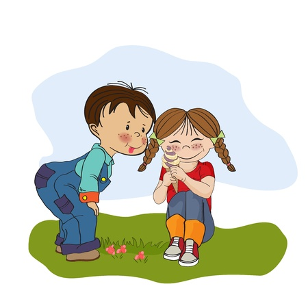 little girl eating: funny girl with icecream, illustration in vector format