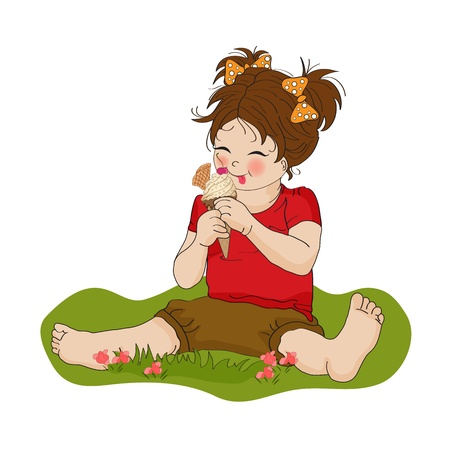 beautiful eating: funny girl with icecream, illustration in vector format