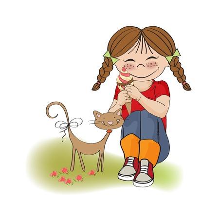divertido: chica divertida con helado, la ilustración en formato vectorial