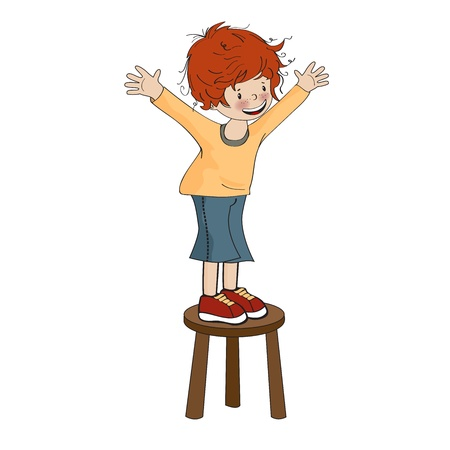 funny little boy perched on chair, vector illustration Stock Vector - 20720837