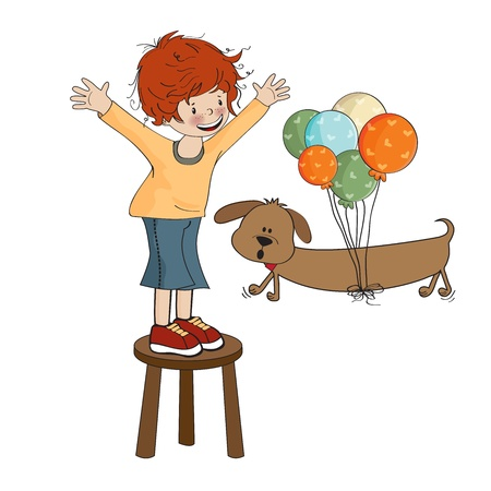 little boy playing with his dog, vector illustration Stock Vector - 20720842