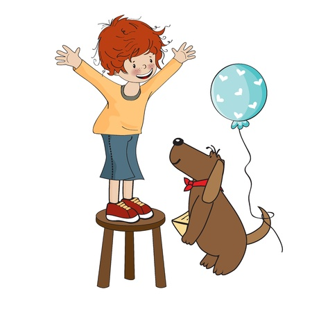 Funny boy celebrates his birthday with dog, vector illustration Vector