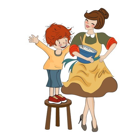 funny boy and his mother isolated on white backdround, vector illustration Vector