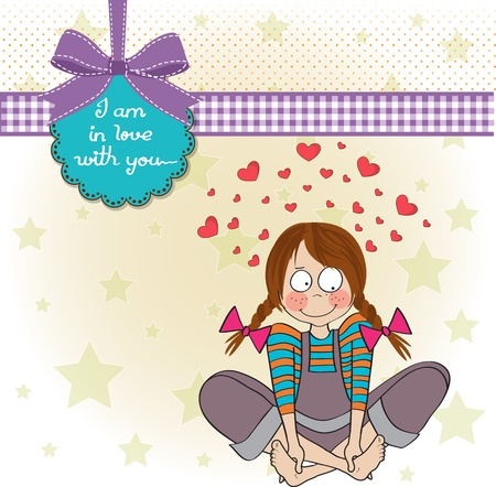 pretty young girl in love, illustration in vector format Vector