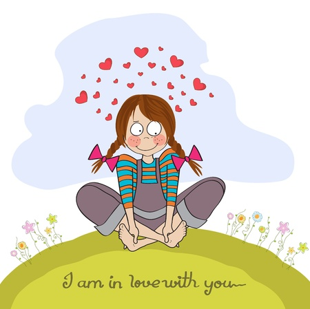 beauty girl pretty: pretty young girl in love, illustration in vector format