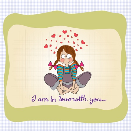 pigtails: pretty young girl in love, illustration in vector format