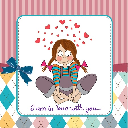 pretty little girl: pretty young girl in love, illustration in vector format