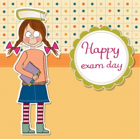 funny young student girl before exam, vector illustration Vector