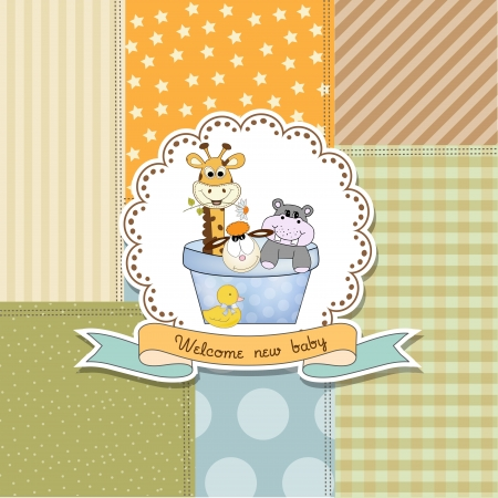 Ducha del bebé anuncio de la tarjeta en formato vectorial Foto de archivo - 20720872