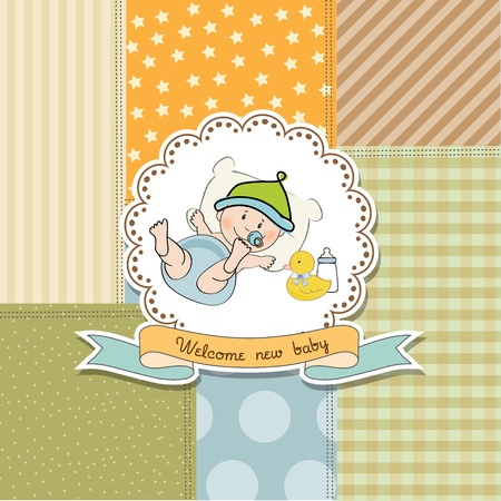 new baby announcement card with little baby boy, vector illustration Stock Vector - 20720879