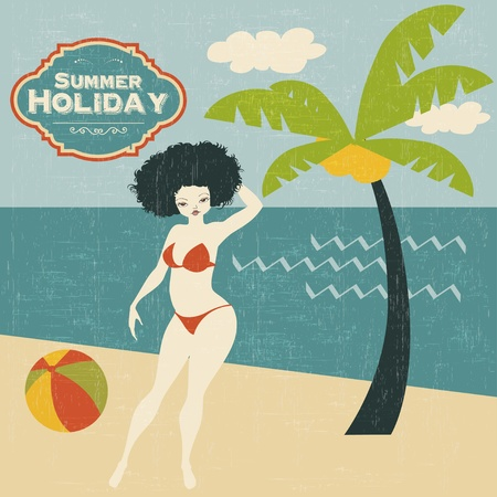 retro woman on the beach, vector illustration Vector