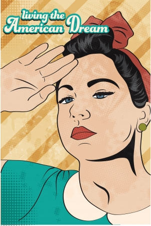 retro young woman, illustration in vector format Vector