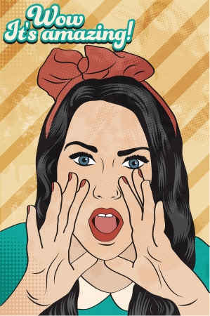 retro girl surprised, illustration in vector format Vector