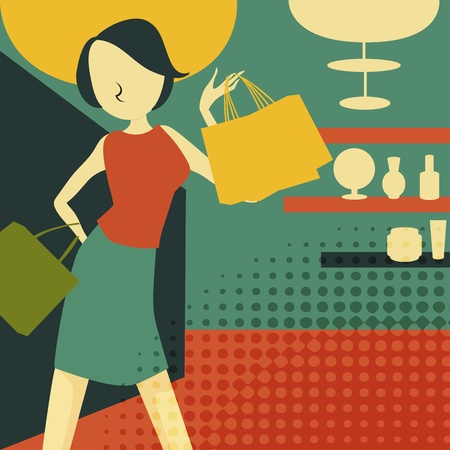 femme: retro young woman at shopping, vector illustration