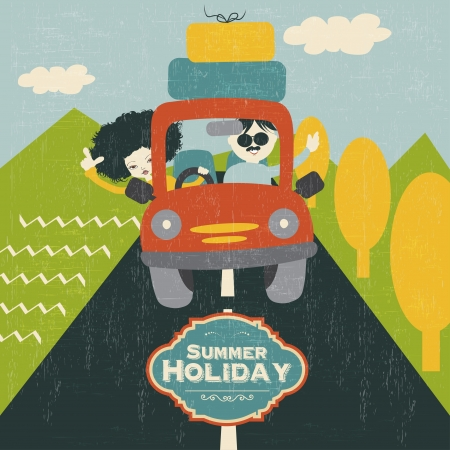 retro  couple traveling by car, vector illustration Stock Vector - 21019079