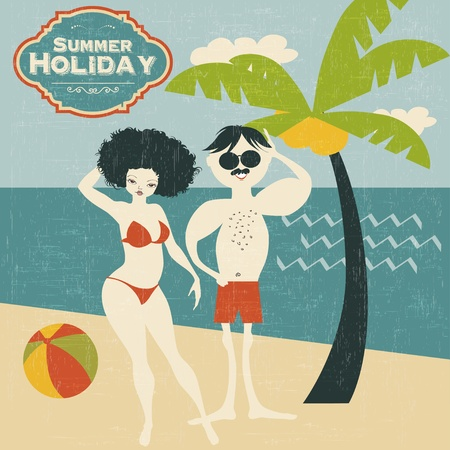 retro couple on the beach, vector illustration Vector
