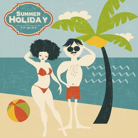 teen girl bikini: retro couple on the beach, vector illustration