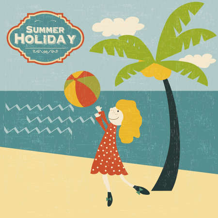retro young girl playing ball on the beach, vector illustration Vector