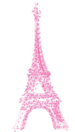 parisian: eiffel tower with herats, isolated on white background, vector illustration