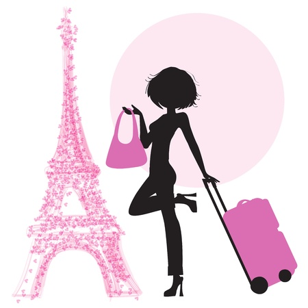 people traveling:  young  woman with suitcase in Paris, illustration in vector format