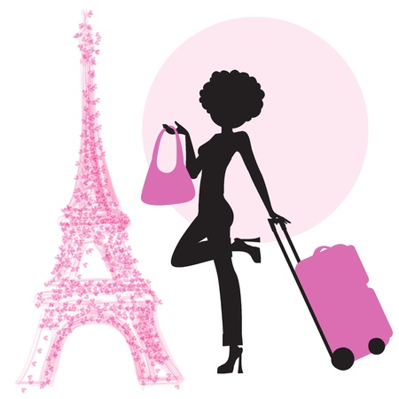 young woman with suitcase in Paris, illustration in vector format Vetores