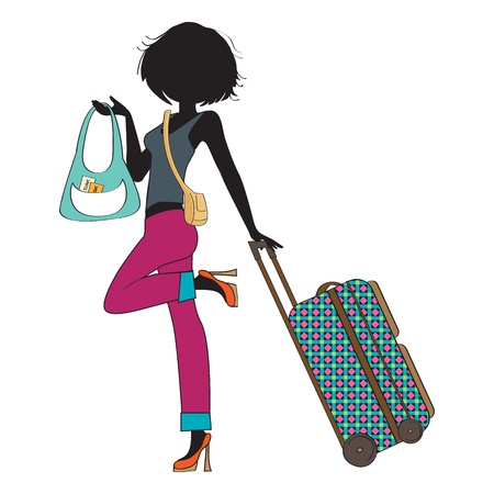 woman scarf:  young  woman with suitcase, illustration in vector format