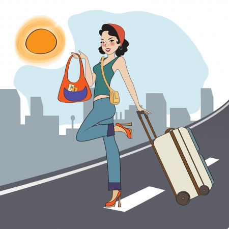 young  woman with suitcase, illustration in vector format Vector