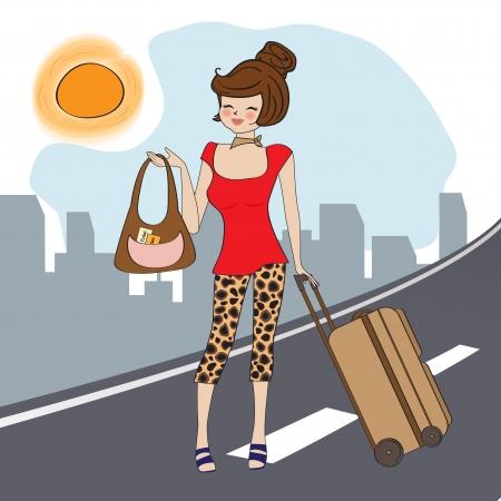 mujer con maleta: mujer joven con la maleta, la ilustración en formato vectorial