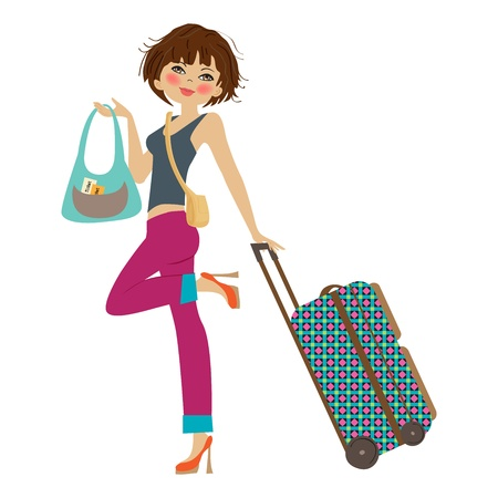 people traveling:  young  woman with suitcase, illustration in vector format